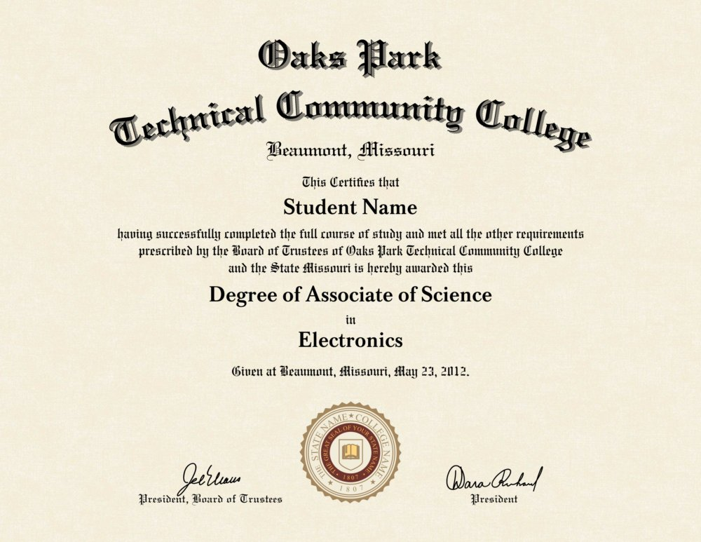 oaks park technical community college diploma