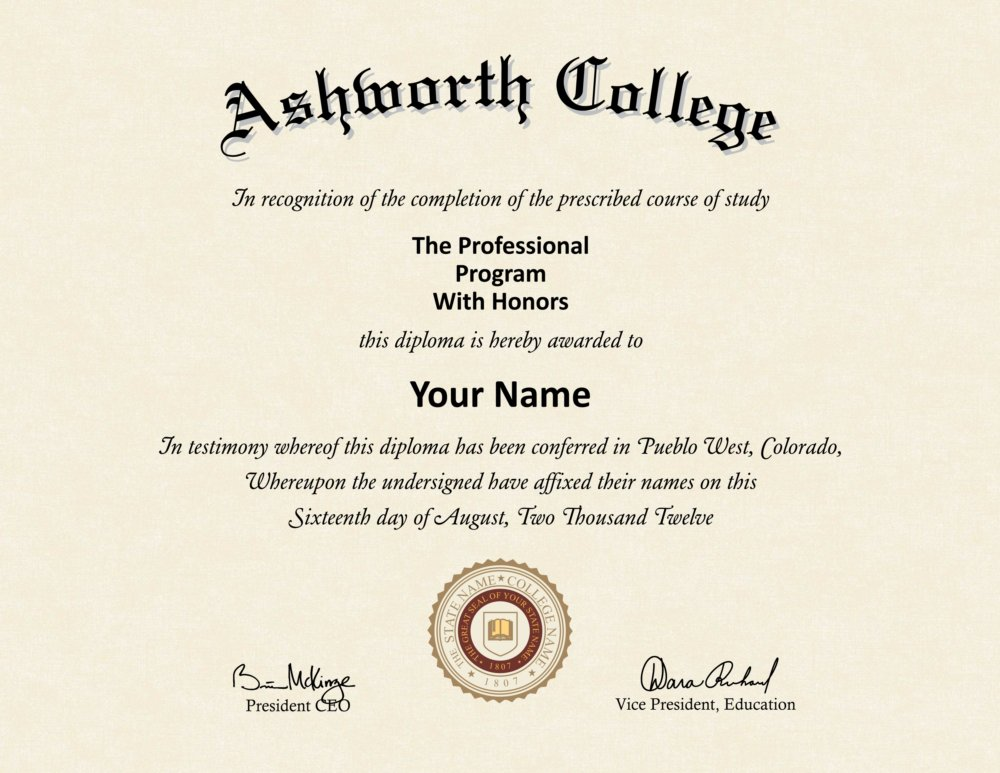 fake ashworth college diploma