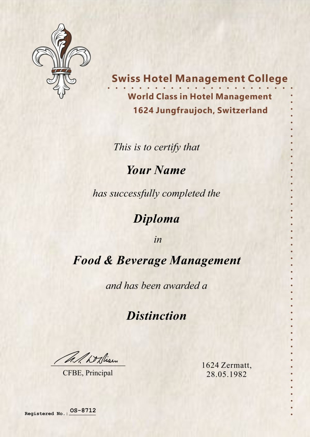 Fake Food Beverage Diploma Outlet