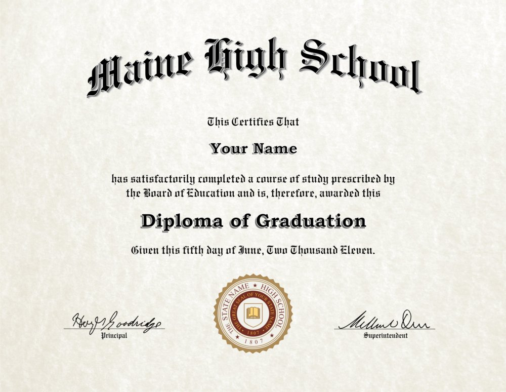fake high school diploma 1