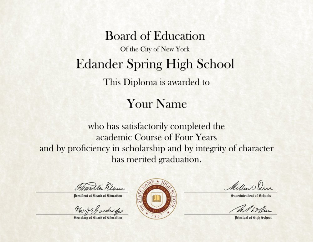 Fake High School Diploma 10 - Diploma Outlet