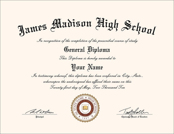 Fake James Madison High School diploma