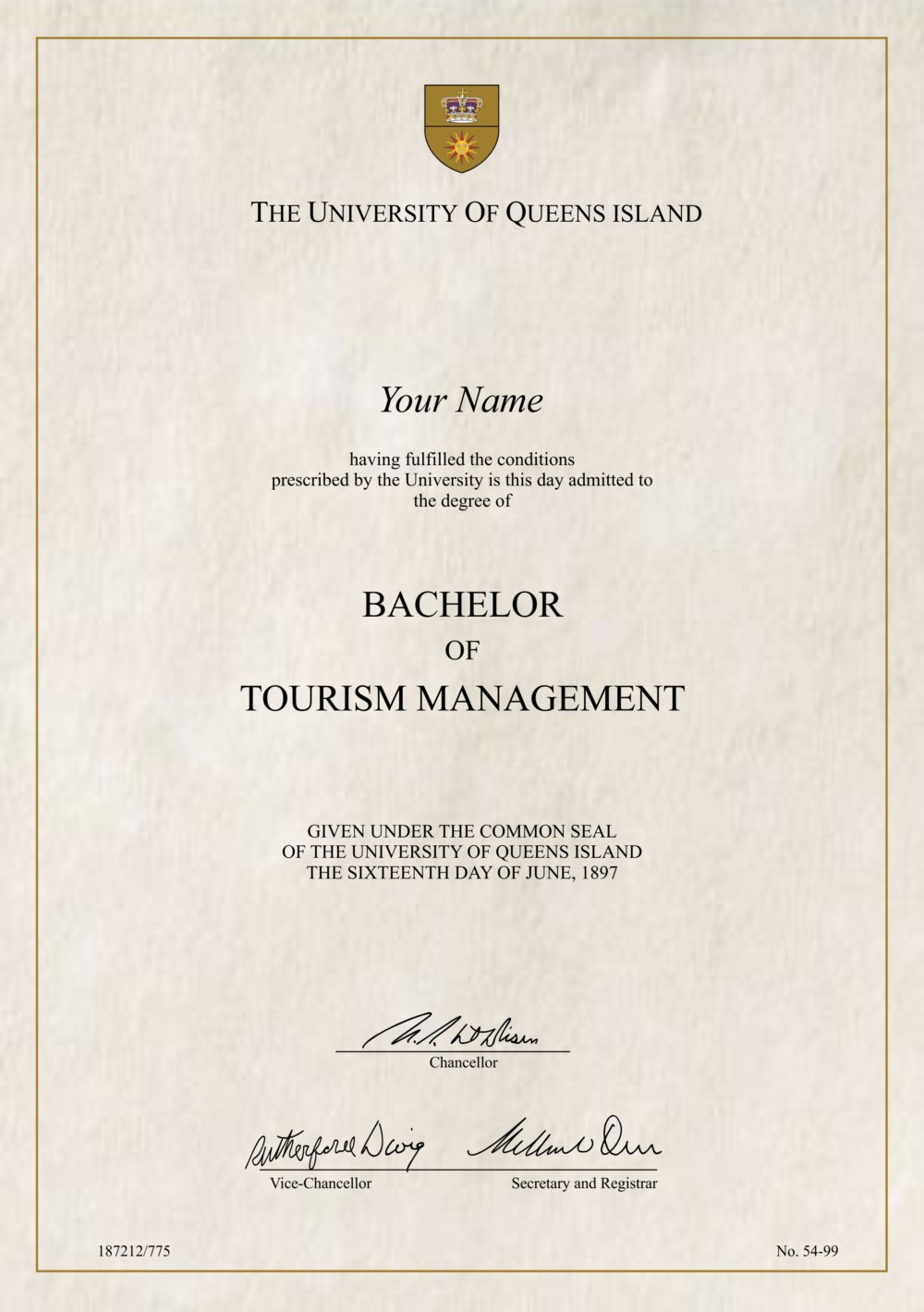 Fake Tourism & Hospitality Certificate - Diploma Outlet