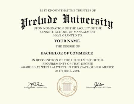fake prelude university diploma