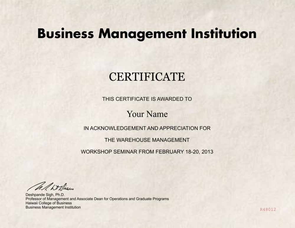 fake warehouse management diploma