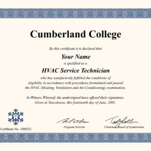 fake HVAC certificate