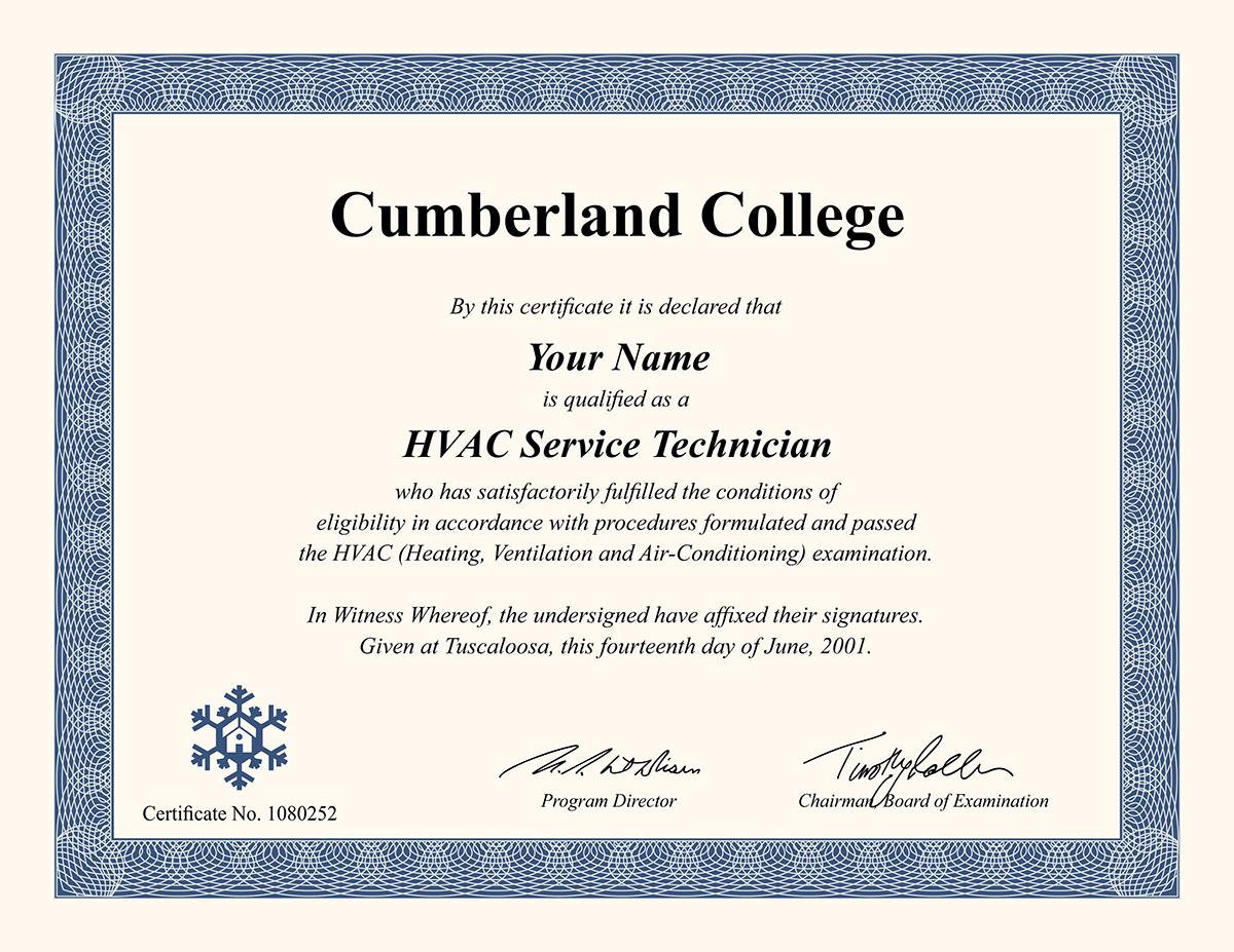 fake hvac certificate