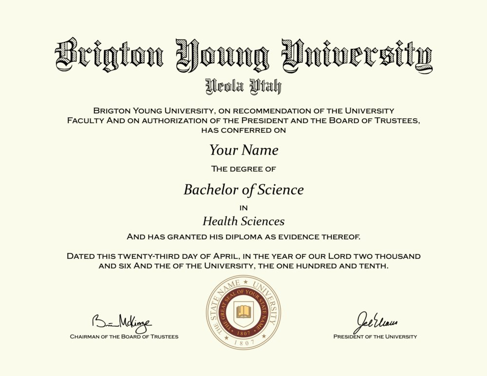 fake brighton young university diploma